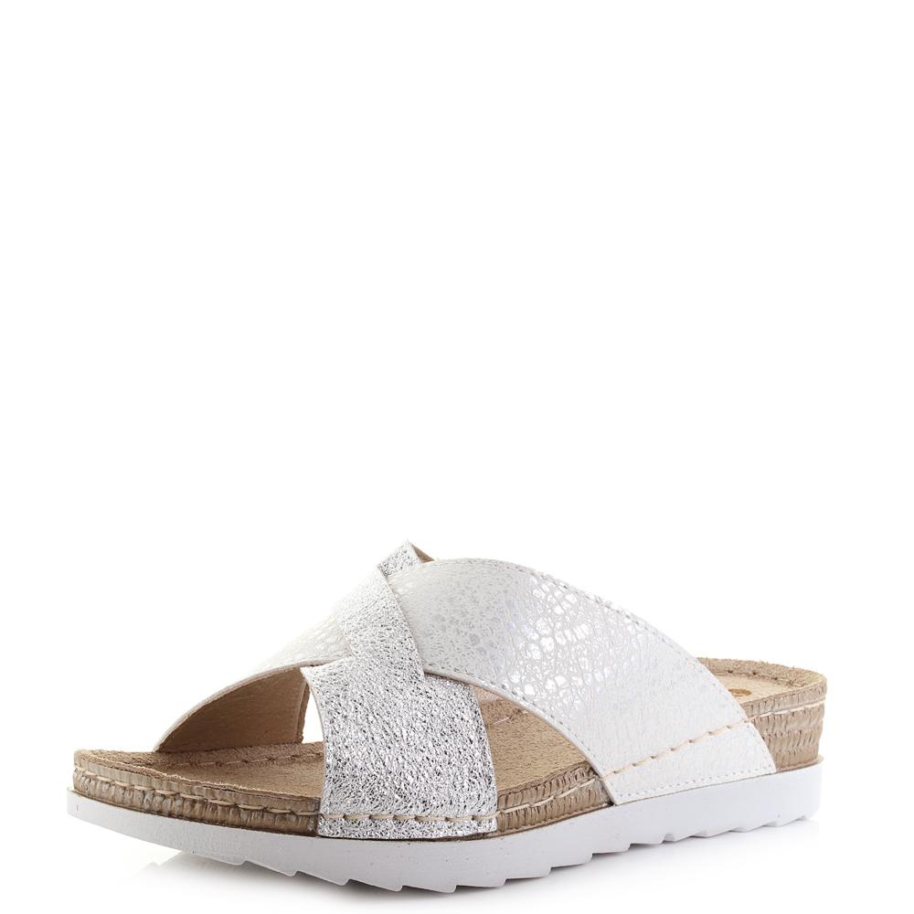 36c9dc58ab55 Womens Inblu OF-10 Gunmetal Crossover Metallic Low Wedge Sandals UK Size