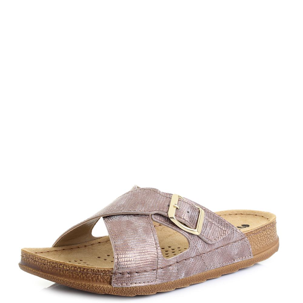 Womens NS3 Slip On Crossoover Buckle Flat Beach Sandals Sz Size