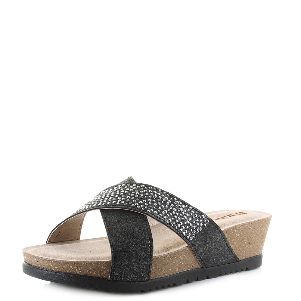 Womens Inblu BA000025 Black Gems Wedge Heel Sandals Size