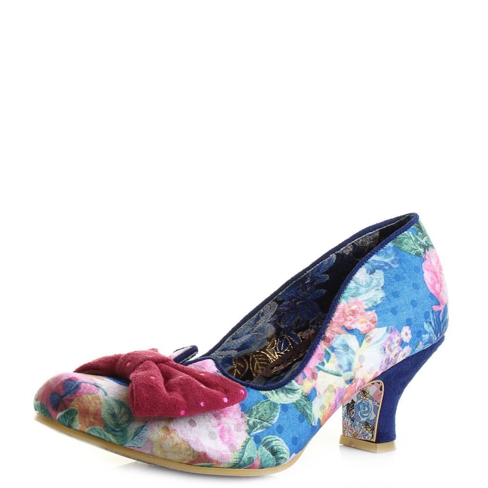Floral Shoes Low Womens Irregular Dazzle Heel Choice Blue Razzle XxXHg86qw