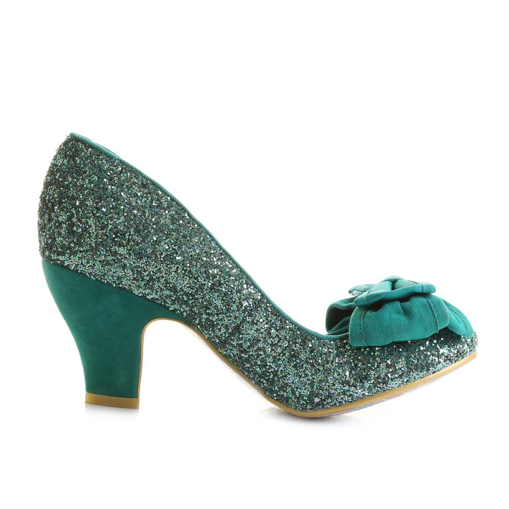 Womens Irregular Choice Ban Joe Green Glitter Mid Heeled Court Shoes Size  c515f92fa