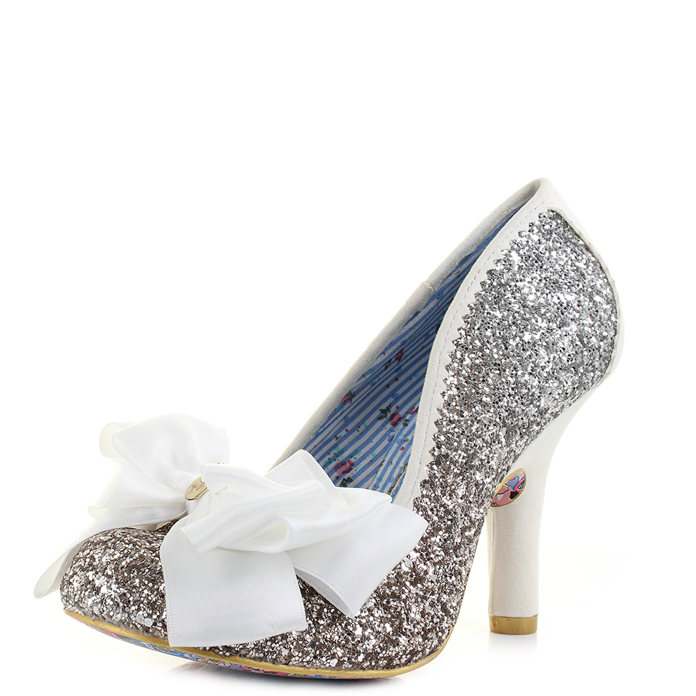 a07130e1ab90 Womens Irregular Choice Ascot Silver Gold Glitter Bow High Heel Shoes UK  Size