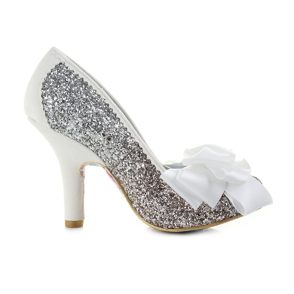 Womens Irregular Choice Ascot Silver Gold Glitter Bow High Heel ...