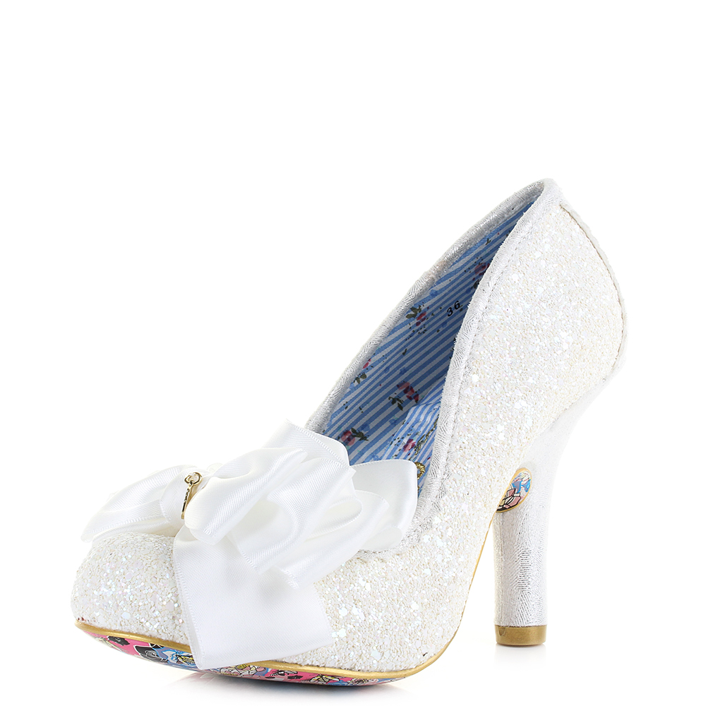Womens Irregular Choice Ascot White High Heel Glitter Court Wedding Shoe Size