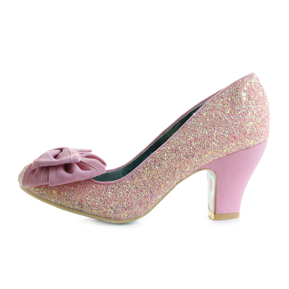 bcbecada4c57 Womens Irregular Choice Ban Joe Pink Glitter Mid Heel Court Shoes Size