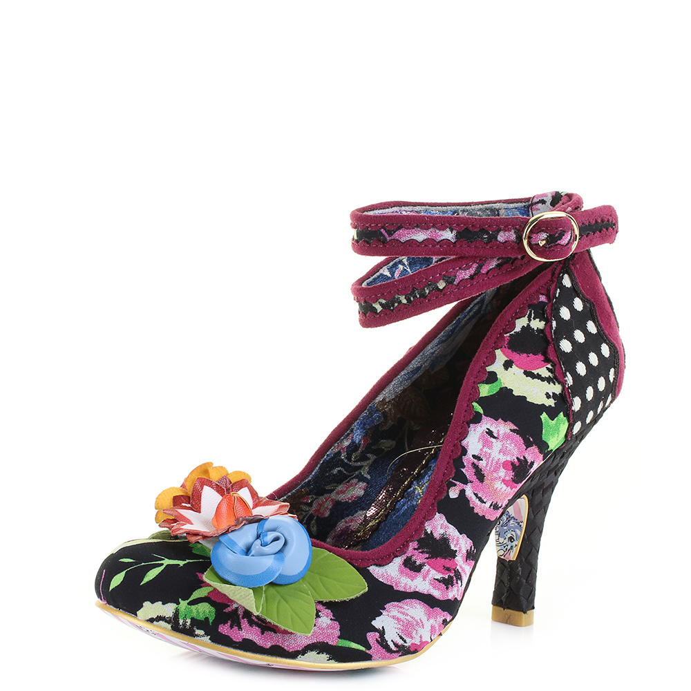 Womens Irregular Choice Day Dreamer Black Floral High Heel Shoes