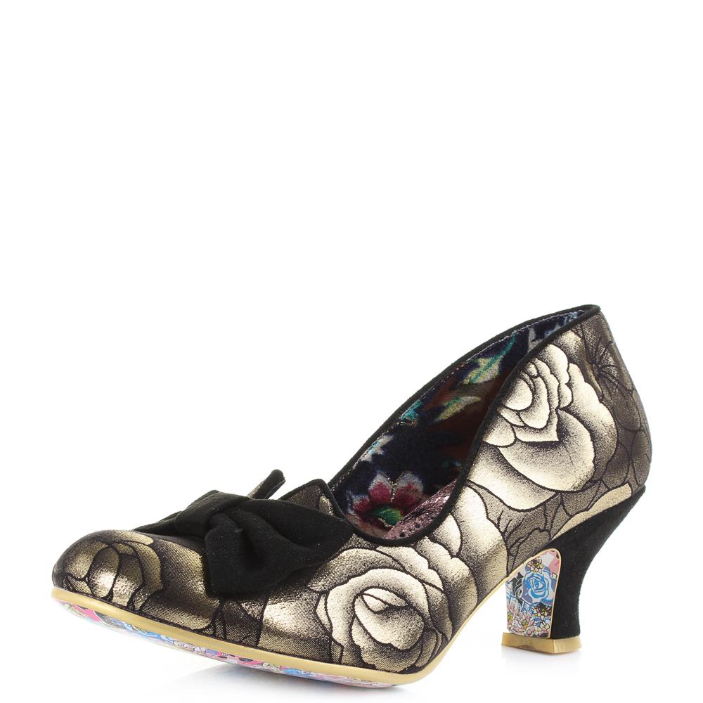 389c141a460 Womens Irregular Choice Dazzle Razzle Gold Black Mid Heel Court Shoes Shu  Size