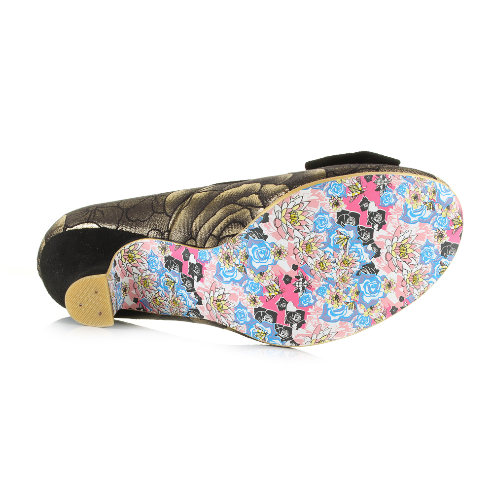 Womens Irregular Choice Dazzle Razzle gold gold gold Black Mid Heel Court shoes Shu Size ea43fc