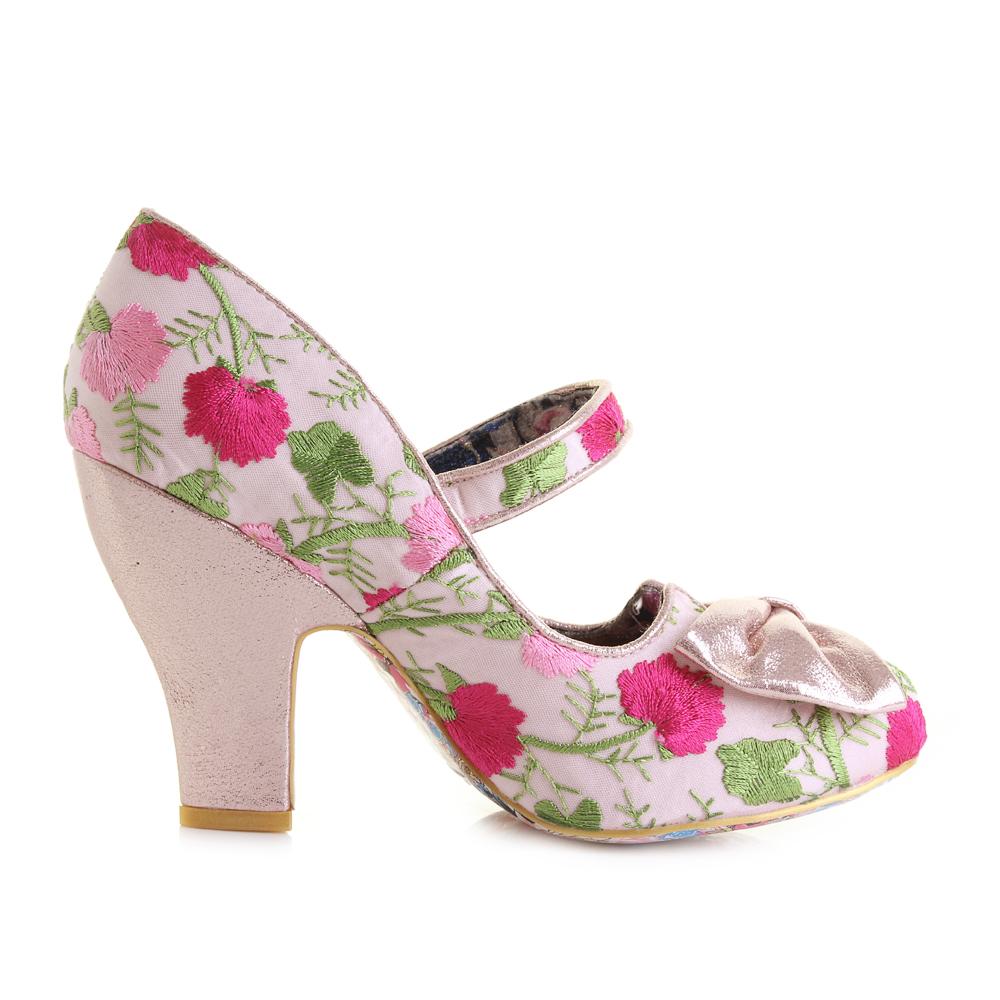 Pink Floral Metallic High Heel Shoes