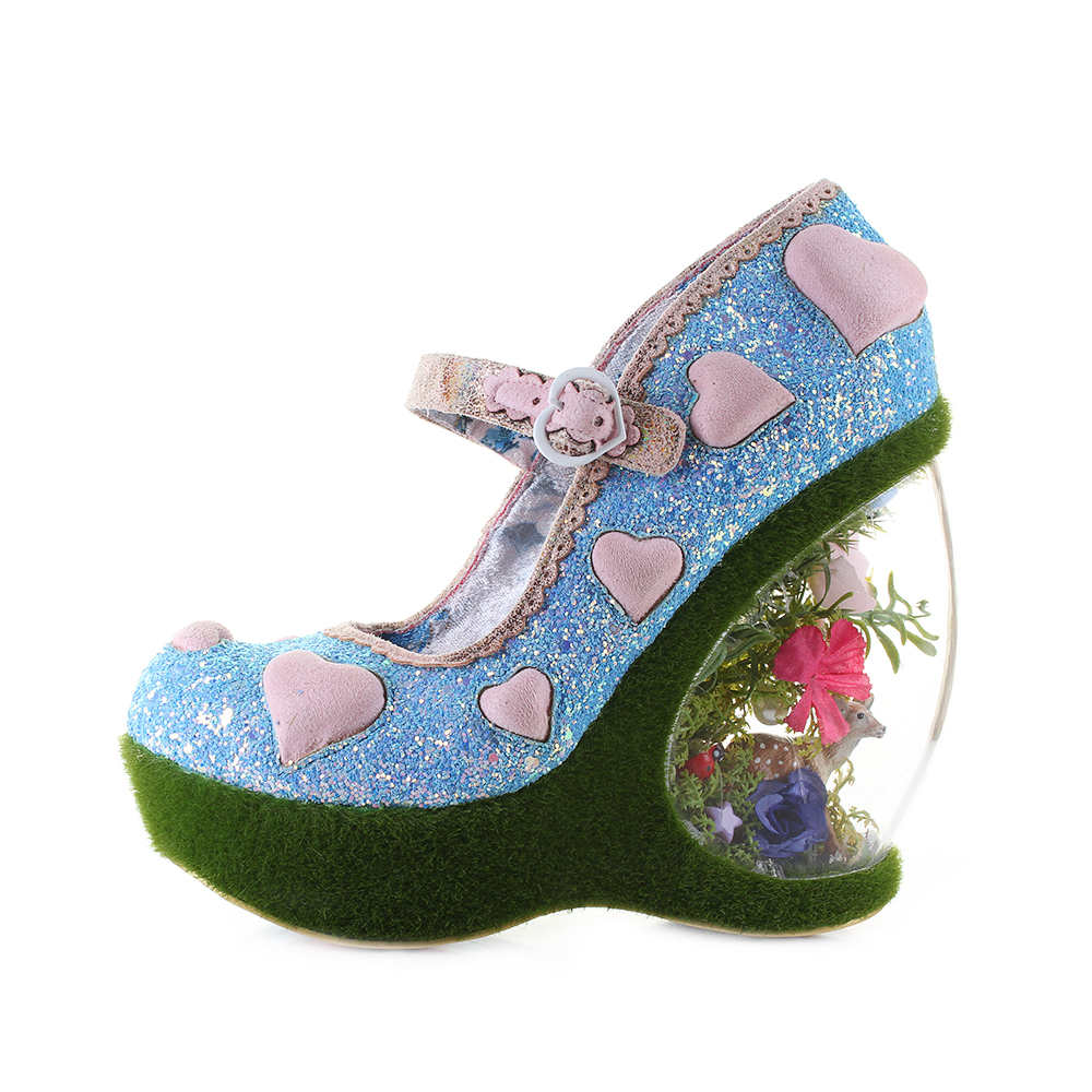 f2dcf718bbd Details about Womens Irregular Choice Forbury Gardens Blue Pink Wedge High Heel  Shoes Shu Size