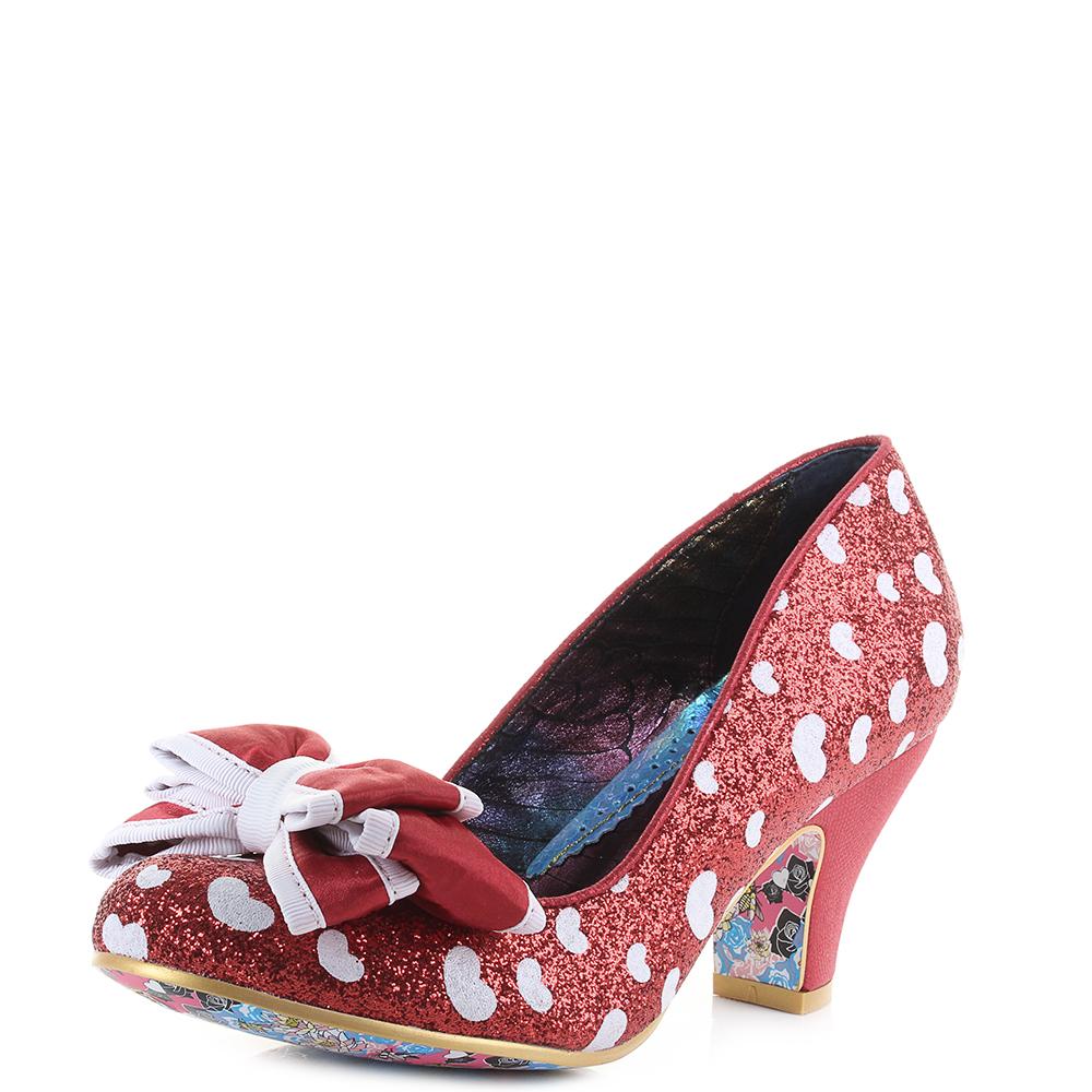 Donna Irregular Choice Ban Joe rosso Heel bianca Glitter Heel rosso Court scarpe   7879e5