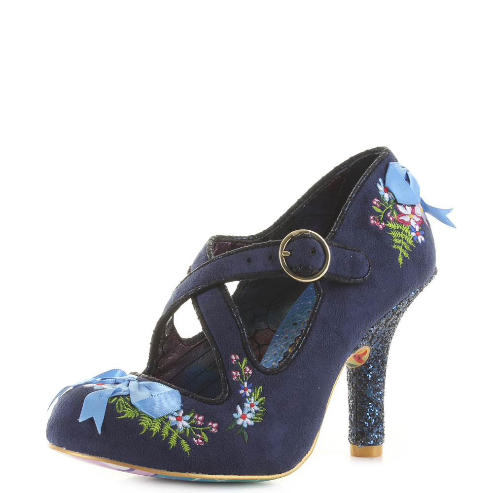 3ff03d37d03 Details about Womens Irregular Choice Beryll Blossom Blue High Heel Shoes  Shu Size