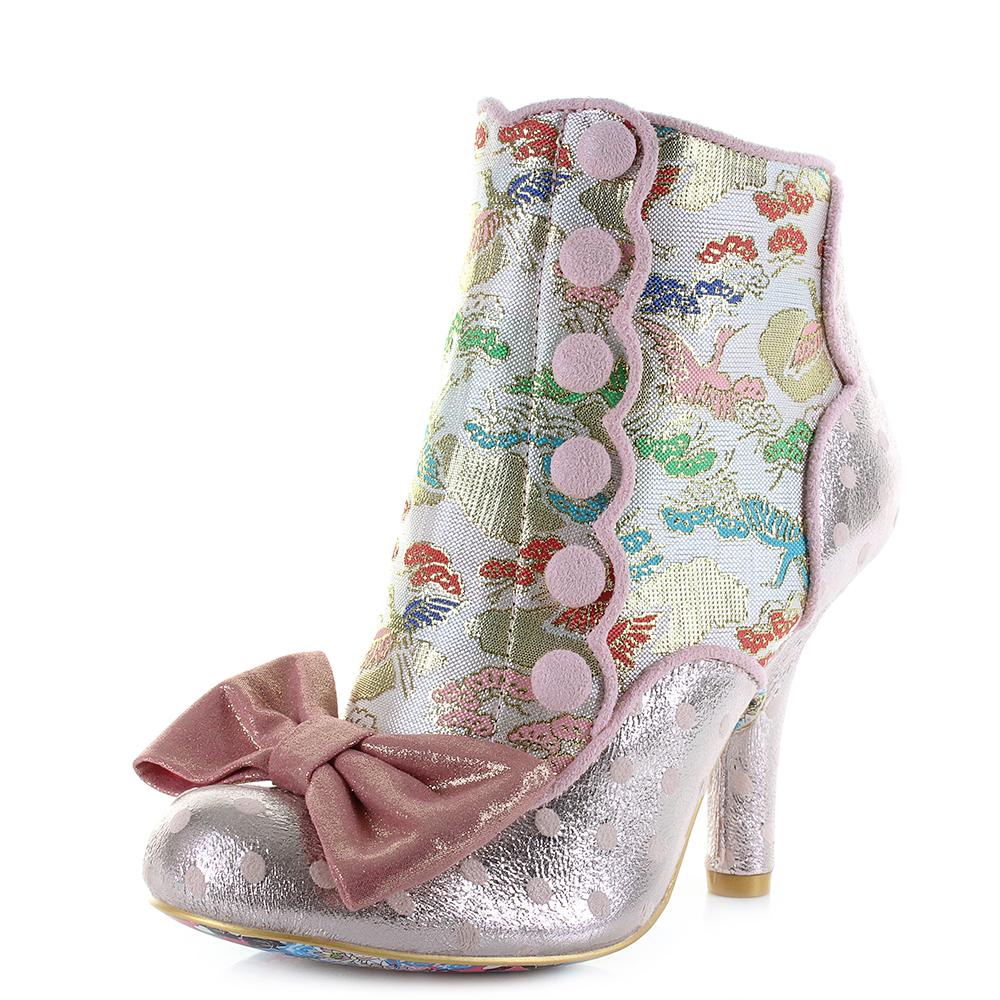 6ffd3b9b7e9d Womens Irregular Choice Golden Years Pink Multi Heeled Ankle Boots Size