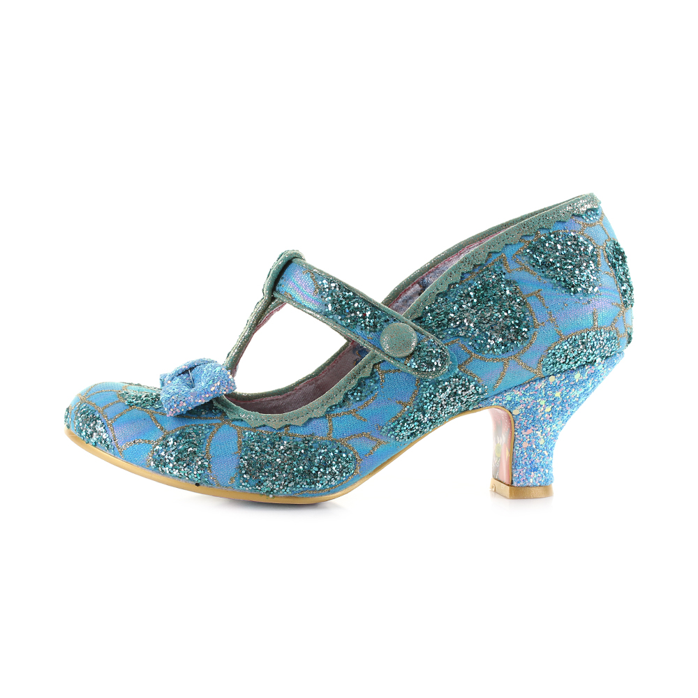Womens Irregular Choice Lazy River bluee gold Glitter Glitter Glitter Mary Jane shoes Shu Size 1e9174