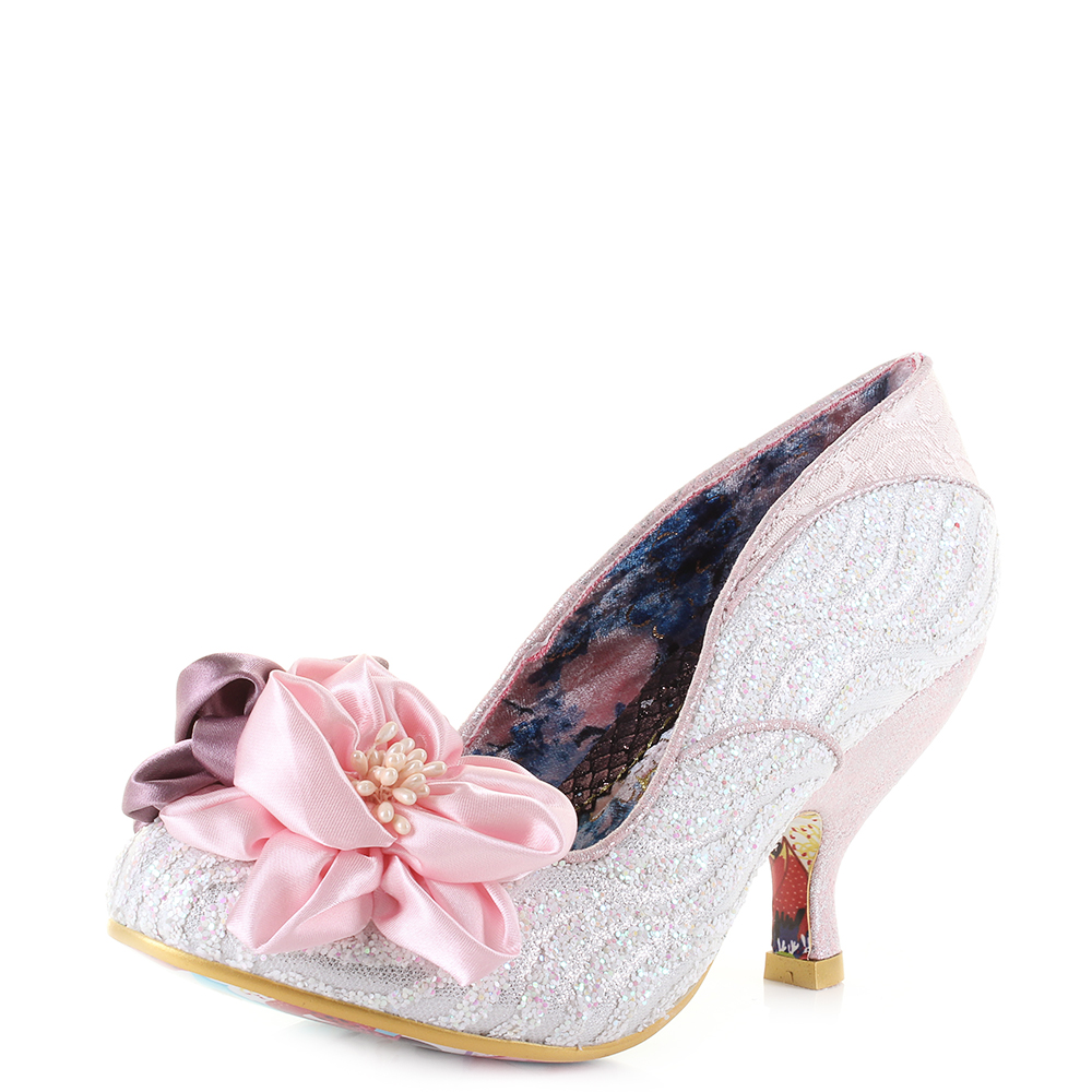 6c0c66ec260e Womens Irregular Choice Little Peaches Pink White Mid Heel Shoes Size