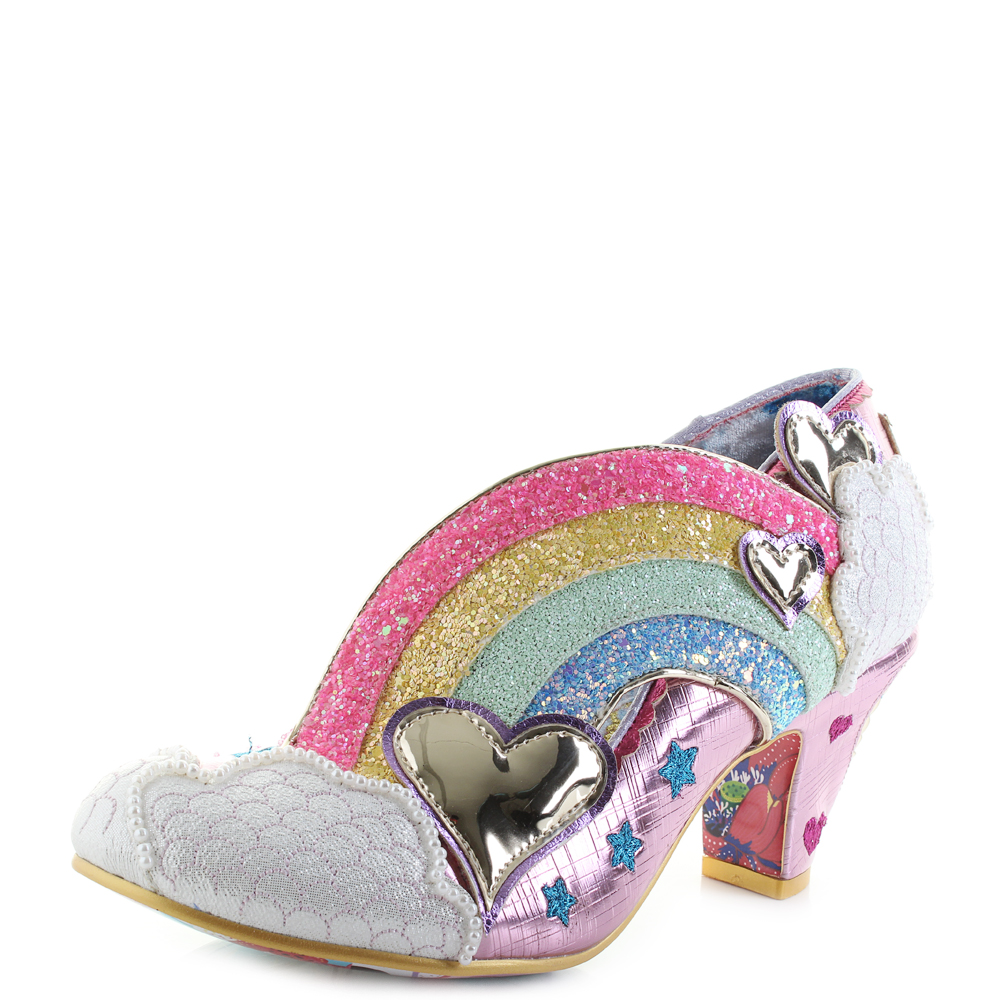 Womens Irregular Choice Summer of Love Pink Rainbow Heels Shoes Size