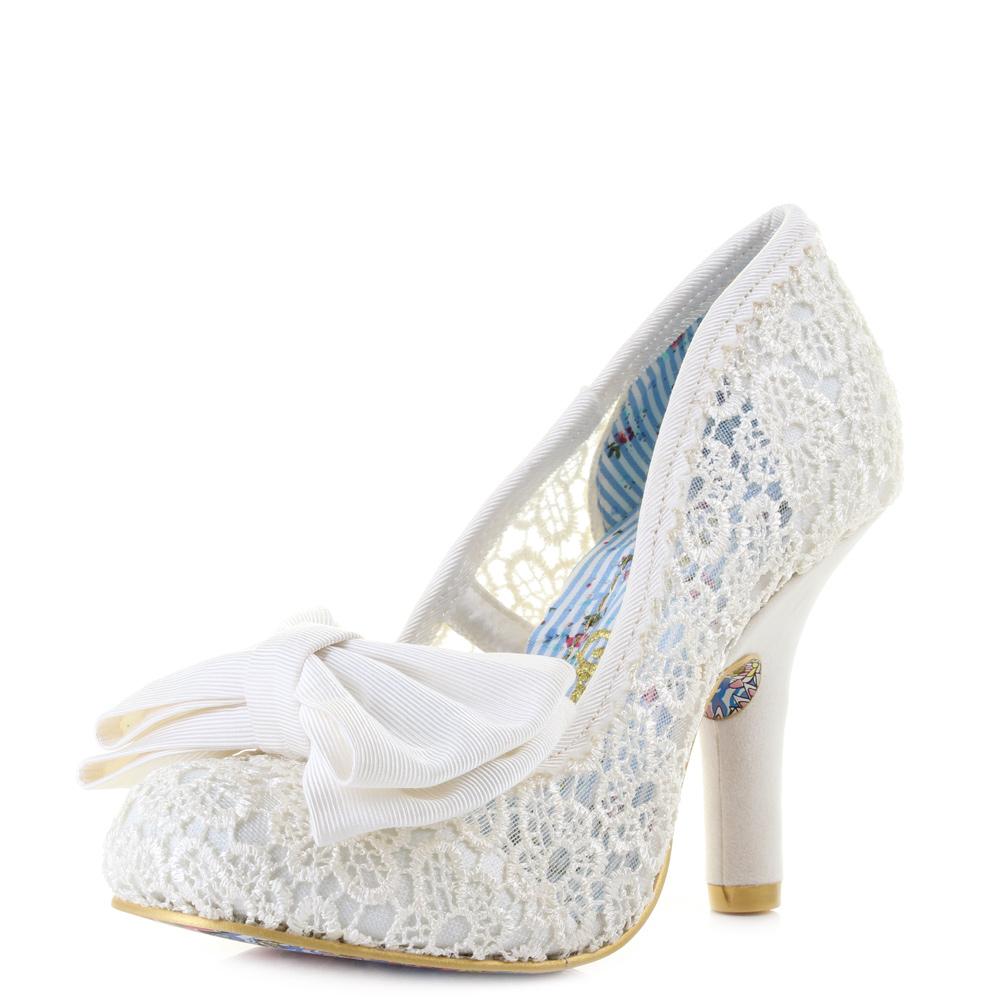 Womens Irregular Choice Mal E Bow Cream Bridal Elegant Wedding Shoes Uk Size