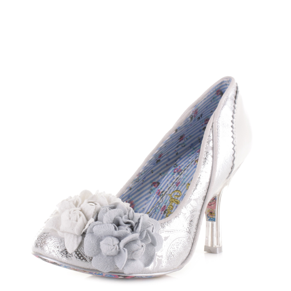 467f7997dff3 Womens Irregular Choice Mrs Lower Silver Heeled Wedding Court Shoes Sz Size