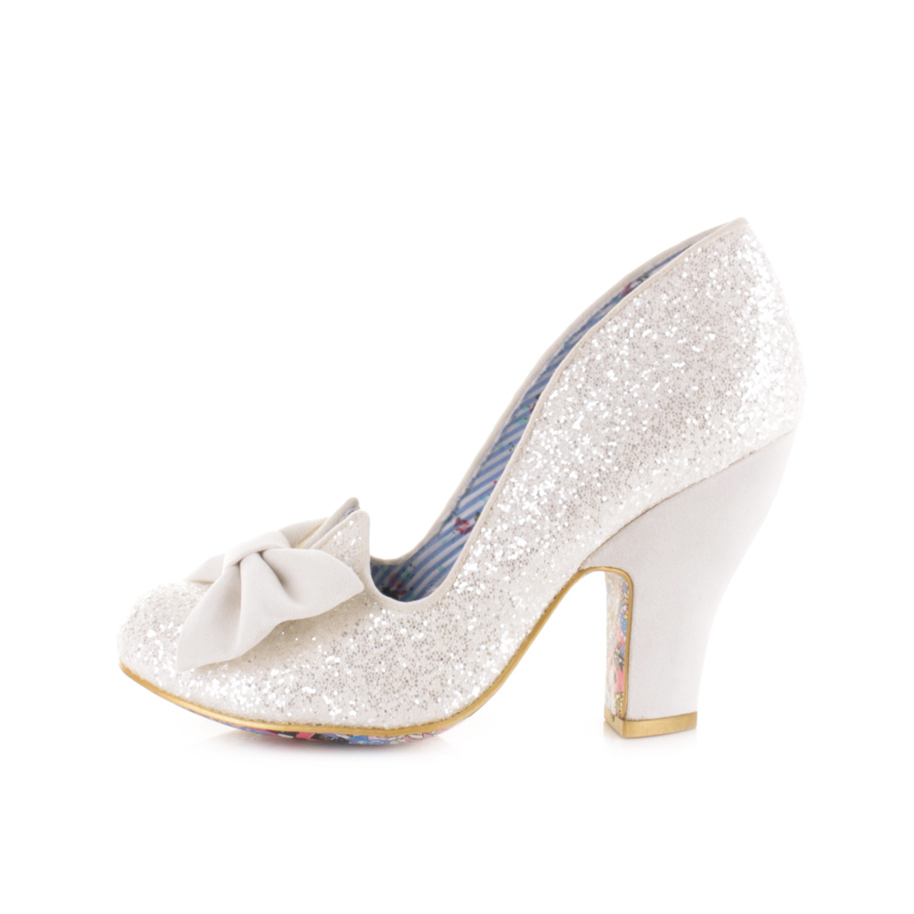 Womens Irregular Choice Nick Of Time Cream Glitter Wedding Court Shoes Uk Size Ebay