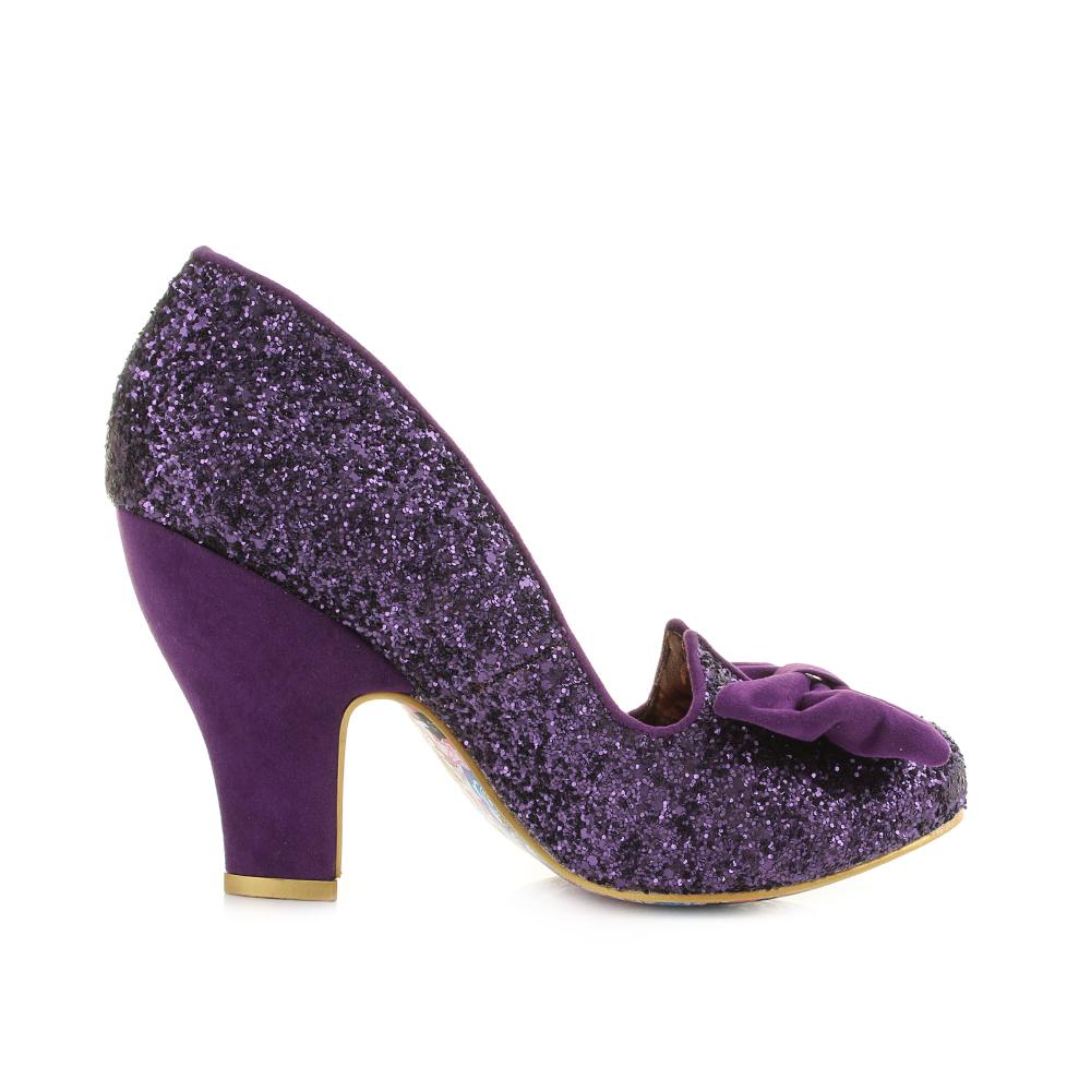 Womens Irregular Choice Nick Of Time Purple Glitter Bow Court ...