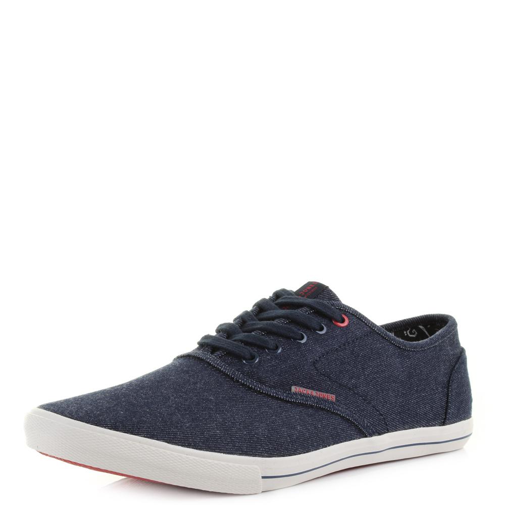 Mens Jack Jones Spider Canvas Blue Denim Slim Plimsolls Trainers Shoes Size 4eb2e396aad1