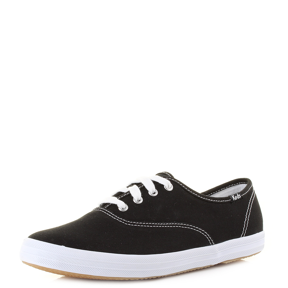cad231d300d57 Womens Keds Champion Black Canvas Plimsoll Classic Casual Shoes Size ...