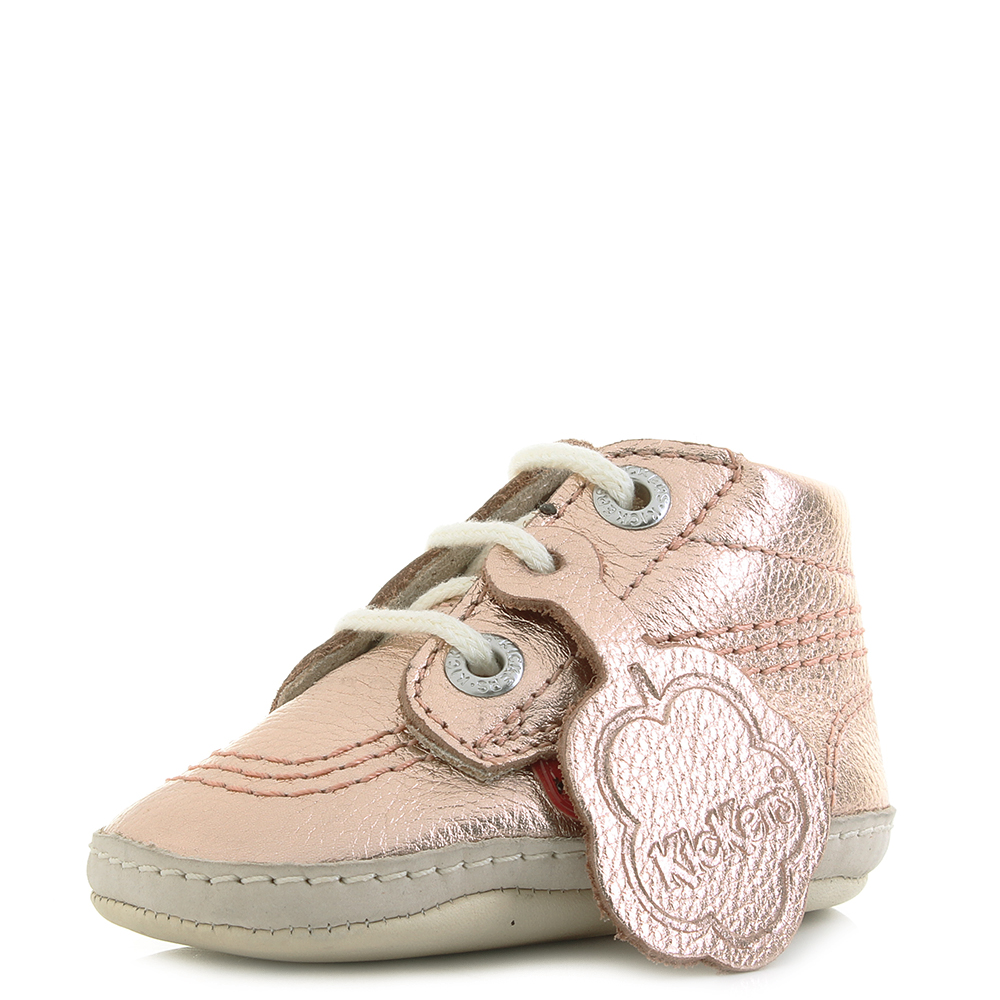Kickers 1st Kicks Leather Baby Rose Gold Crib Shoes UK