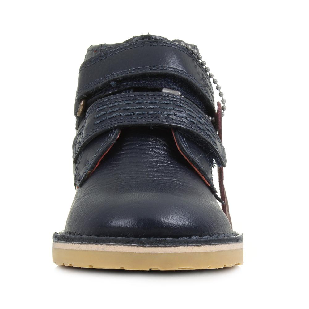 667422bb310d Kids Boys Kickers Adlar Twin Leather Dark Blue Navy Smart Boots Size ...