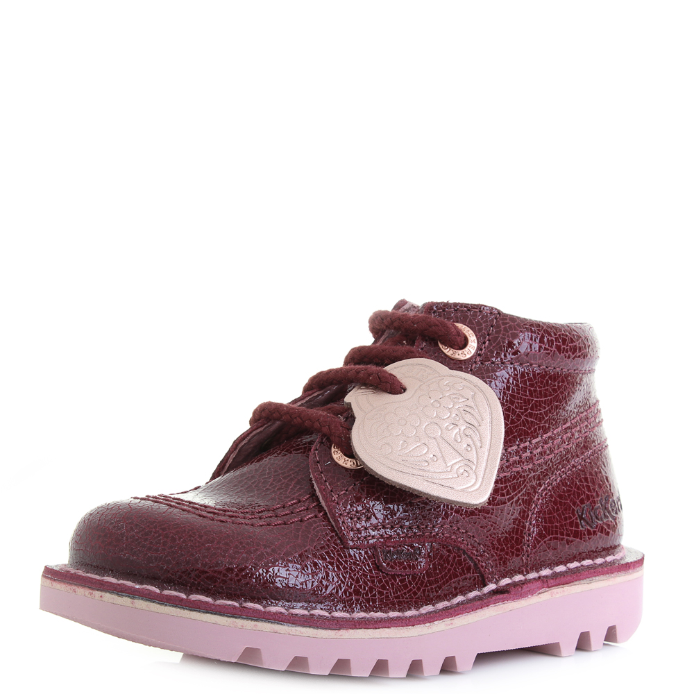 d4cd69fe Details about Girls Kids Kickers Kick Hi Leather Infant Burgundy Pink Boots  Shu Size