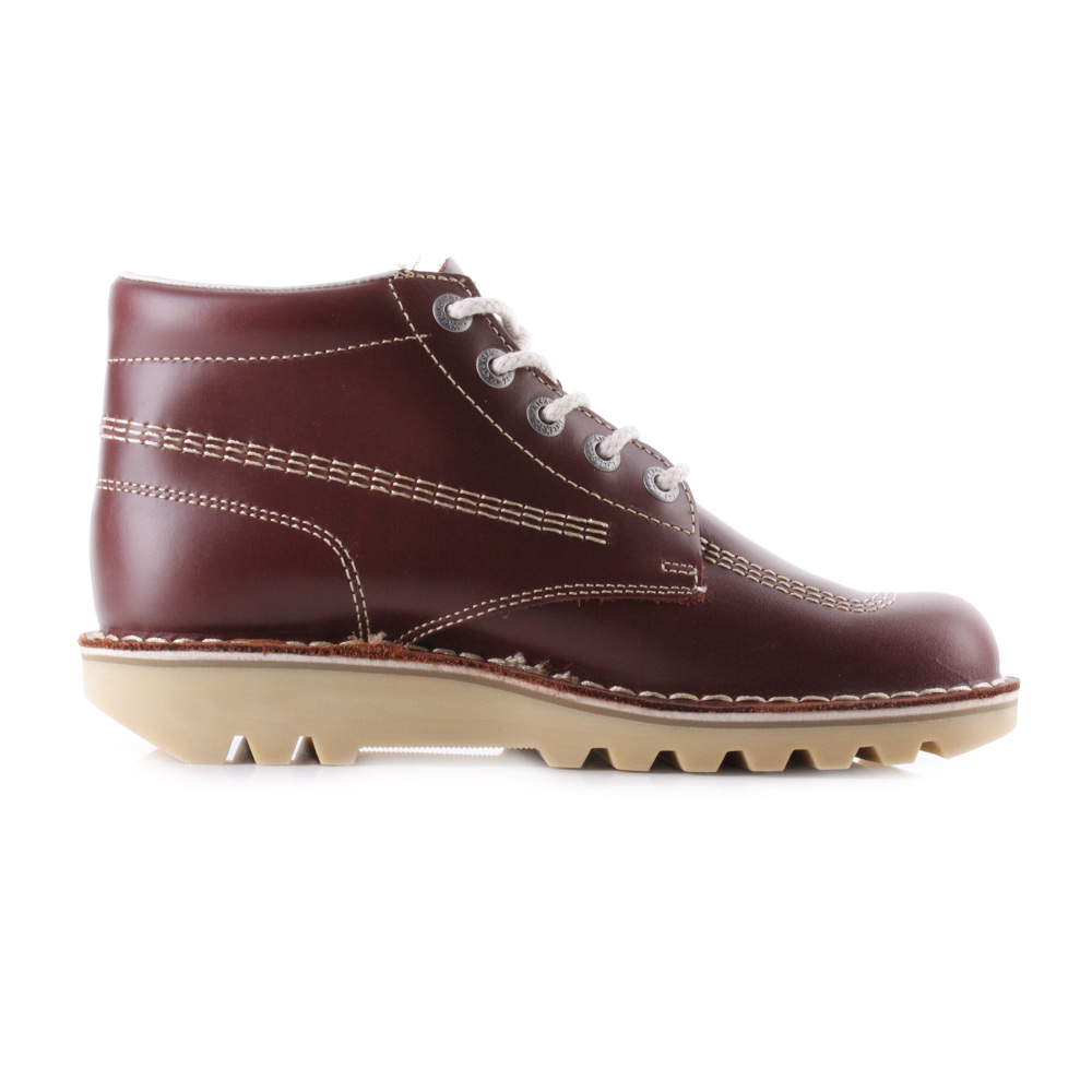069e35dd88ff5 Mens Kickers Kick Hi M Core Dark Red Leather Lace Up Ankle Boots Uk Size