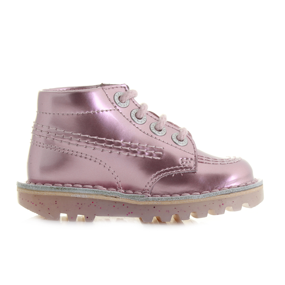 6d420fe3 Kids Girls Kickers Kick Hi Infant Leather Pink Patent Ankle Boots Size