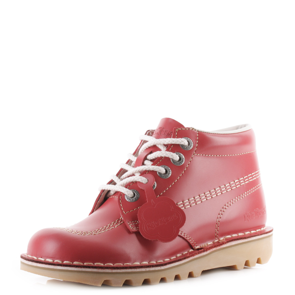 9888762cea Womens Kickers Kick Hi Core Red Natural Nat Leather Lace Up Ankle Boots Size