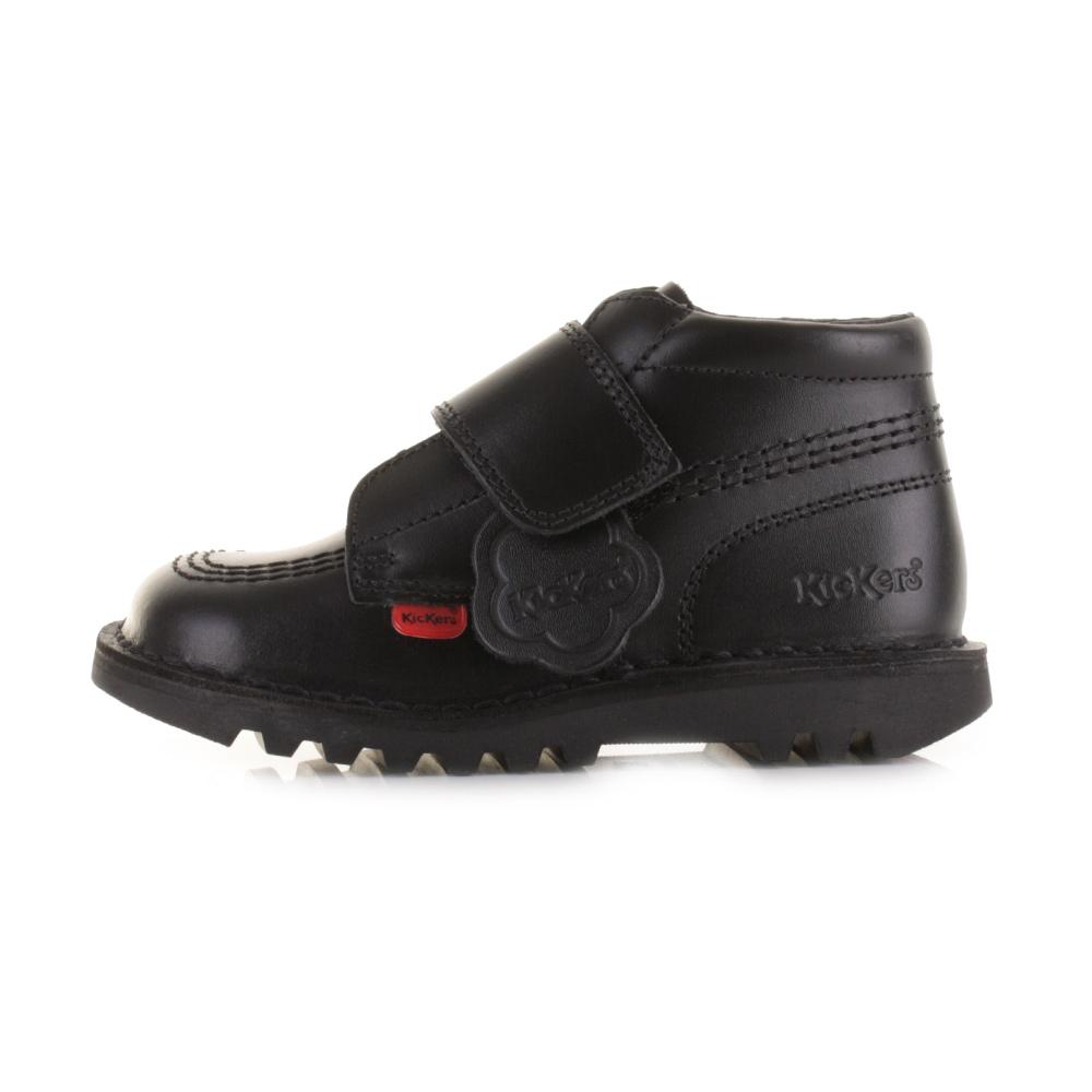 Kickers KICK KILO Infant Leather Touch Close Durable School Ankle Boots Black