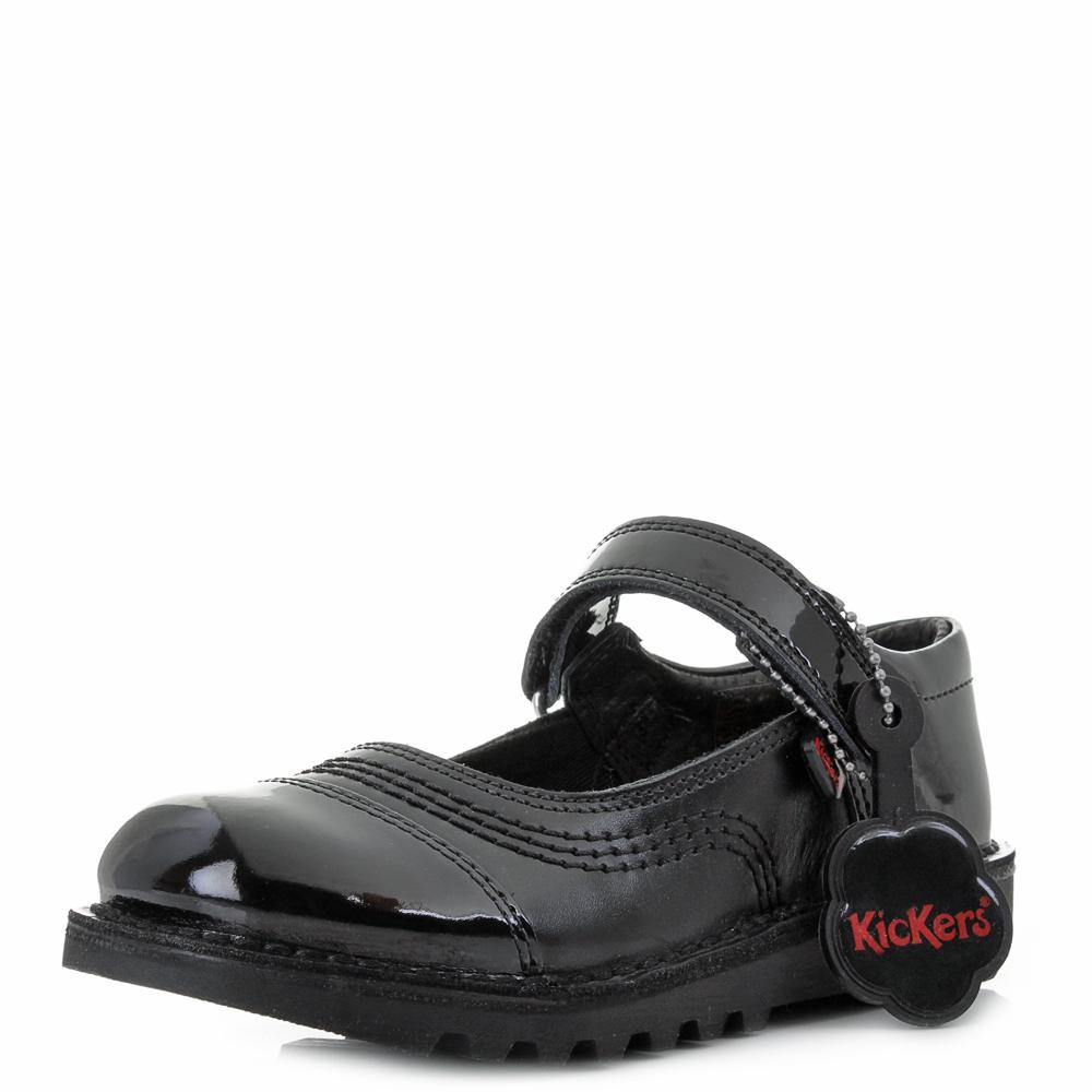 Girls Kids Kickers Kick Pop Junior Leather Black Mary Jane School Shoes Sz  Size 6747a2048cd6