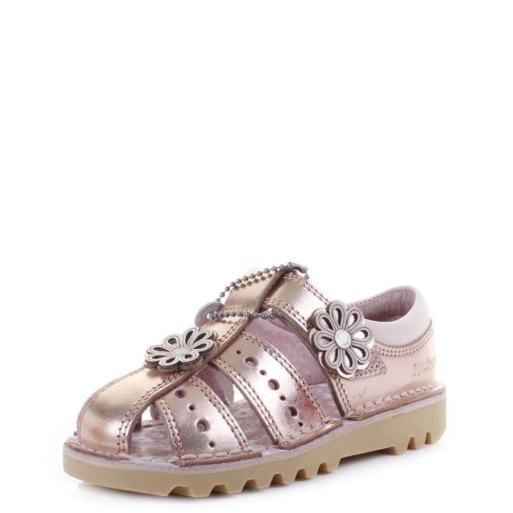 a2202b6d029e21 Details about Kids Girls Infant Kickers Kick San 2 Leather Metallic Rose Gold  Sandals Shu Size