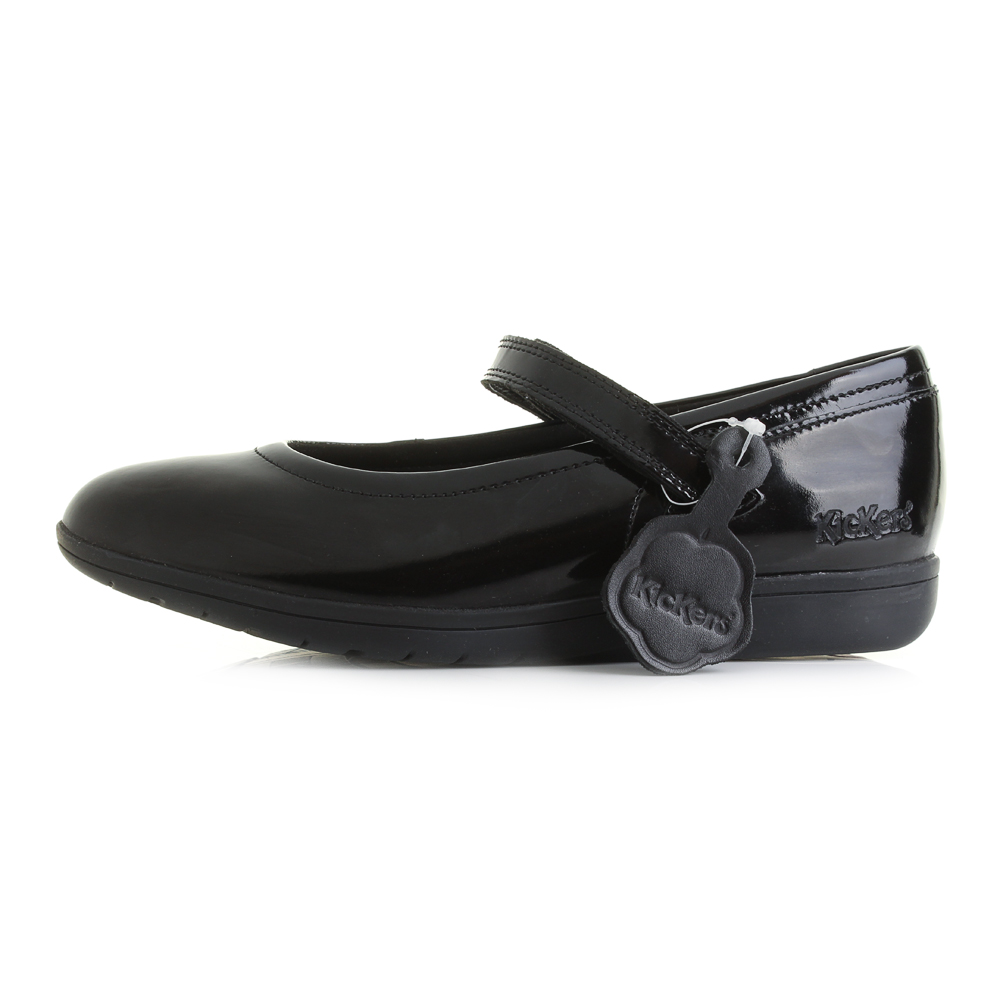 Details About Girls Kickers Perobelle Youth Teen Black Patent Mary Jane School Shoes Size