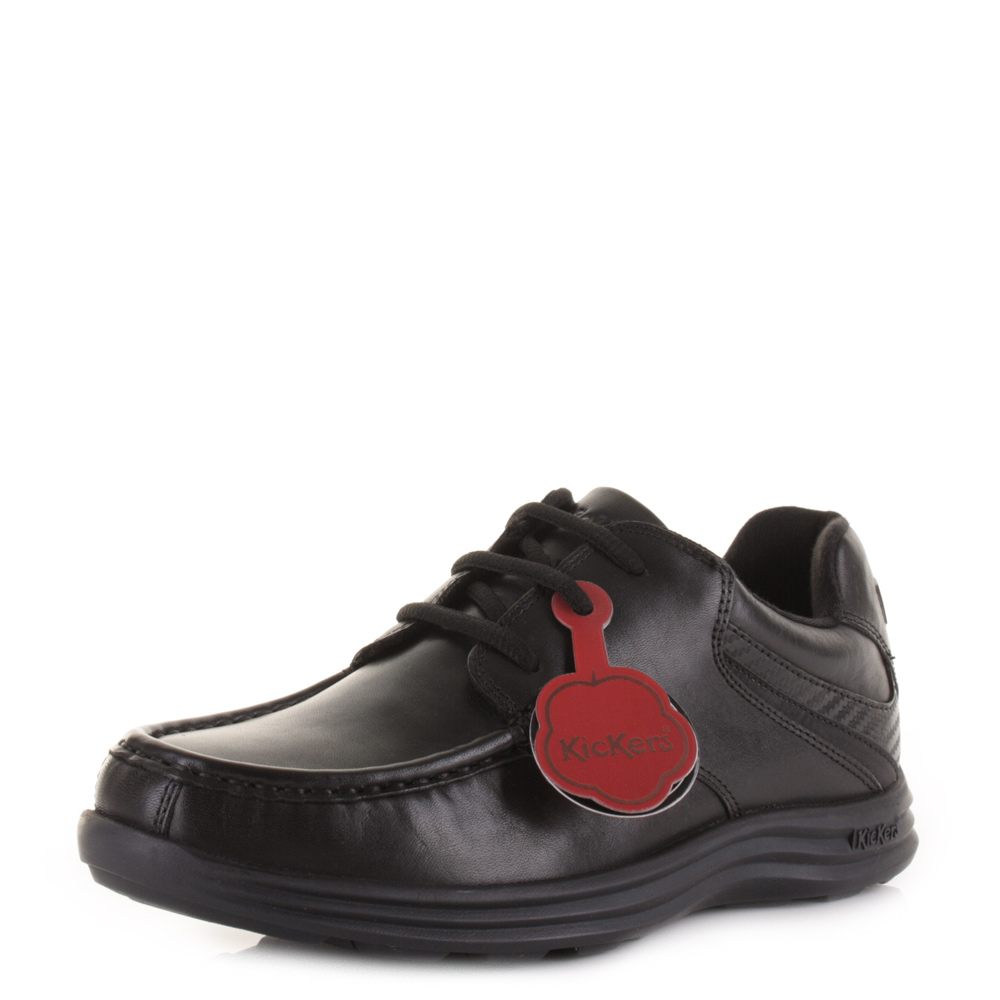 a9df3b60f38d Kickers Youth Boys Kids Reasan Lace Leather School Black Smart Shoes Uk Size