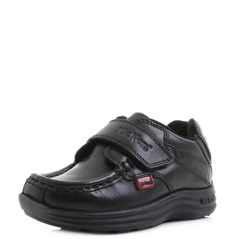5d48e9e2b387 Details about Kids Boys Kickers reasan Strap Leather Infant Black School  Shoes Shu Size
