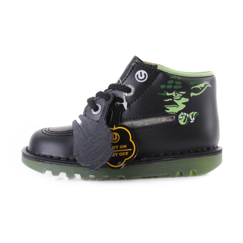 333b19ecc0312d Boys Infant Kickers Yoda Lightsaber Black Leather Star Wars Boots Uk Size