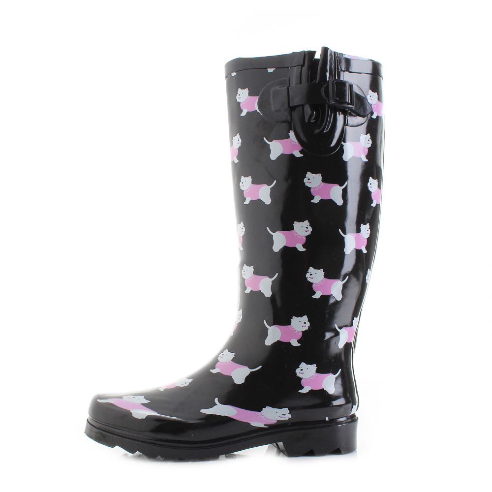 e338f0af7d8 Details about Womens Wyre Yorkie Dog Black Print Wellies Wellington Boots  Size