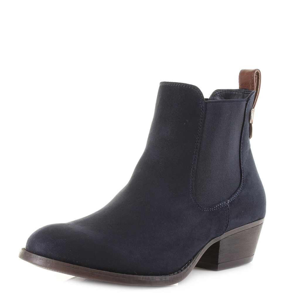 womens lilly rose navy casual smart low heel chelsea ankle boots sz size ebay. Black Bedroom Furniture Sets. Home Design Ideas