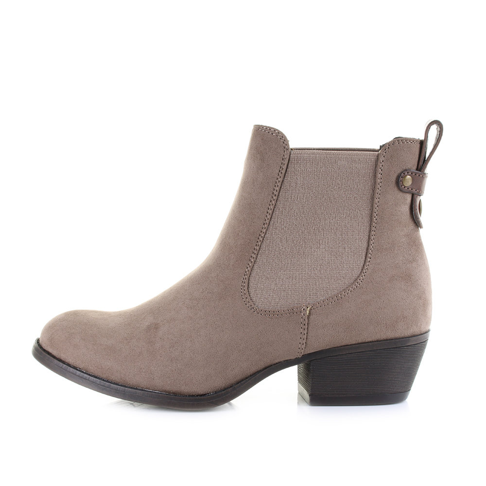 womens lilly rose taupe casual smart low heel ankle chelsea boots size ebay. Black Bedroom Furniture Sets. Home Design Ideas