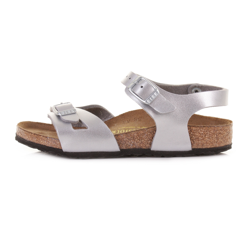 Kids About Fit Girls Silver Birkenstock Narrow Sandals Details Rio Shu Size gf76yvYb