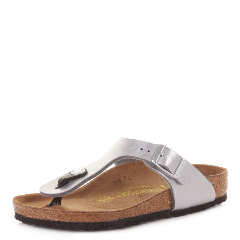 Details about Kids Girls Birkenstock Gizeh Silver Narrow Fit Toe Post Sandals Sz Size