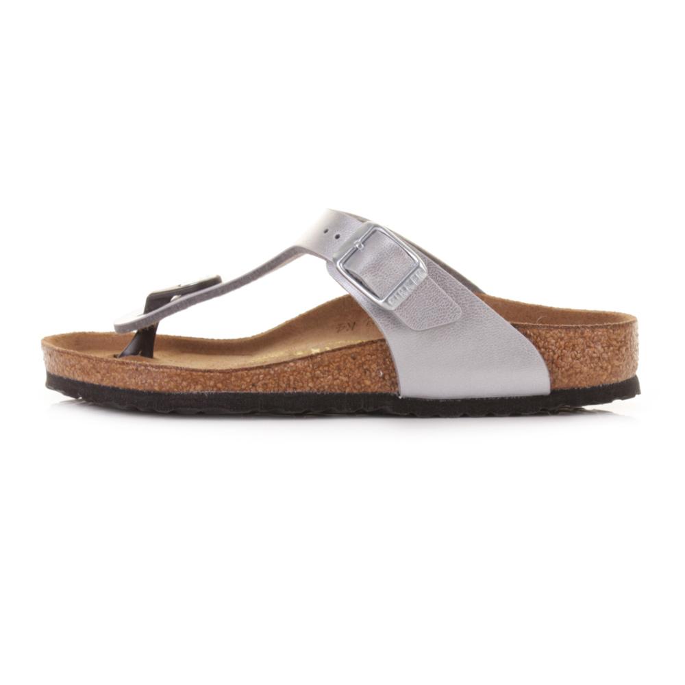 Details about Kids Girls Birkenstock Gizeh Silver Narrow Fit Toe Post Sandals UK Size