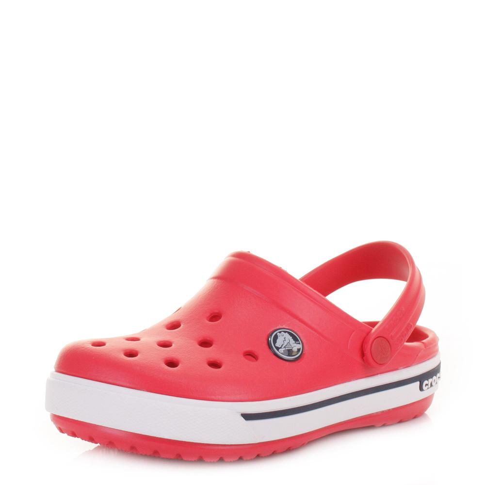 88c3da73c Details about Kids Boys Girls Crocs Crocband 2.5 Red Navy Clogs Sandals  Shoes Size