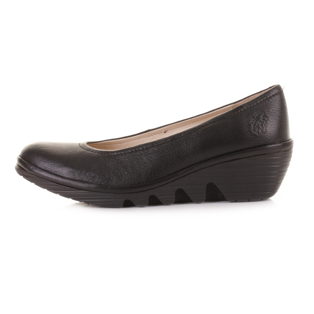 1dfaf2b8816d2 Womens Fly London Pump Mousse Black Leather Wedge Heel Shoes Shu Size
