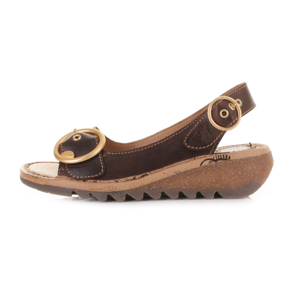 Womens Fly London Tram Dark Brown Leather Slingback Low Wedge ...