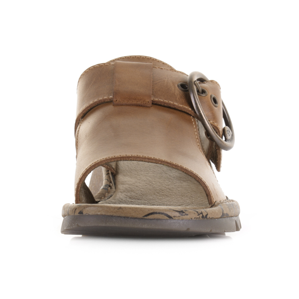 9429db8067 Womens Fly London Tute Rug Camel Low Wedge Mule Leather Sandals Shoes Size
