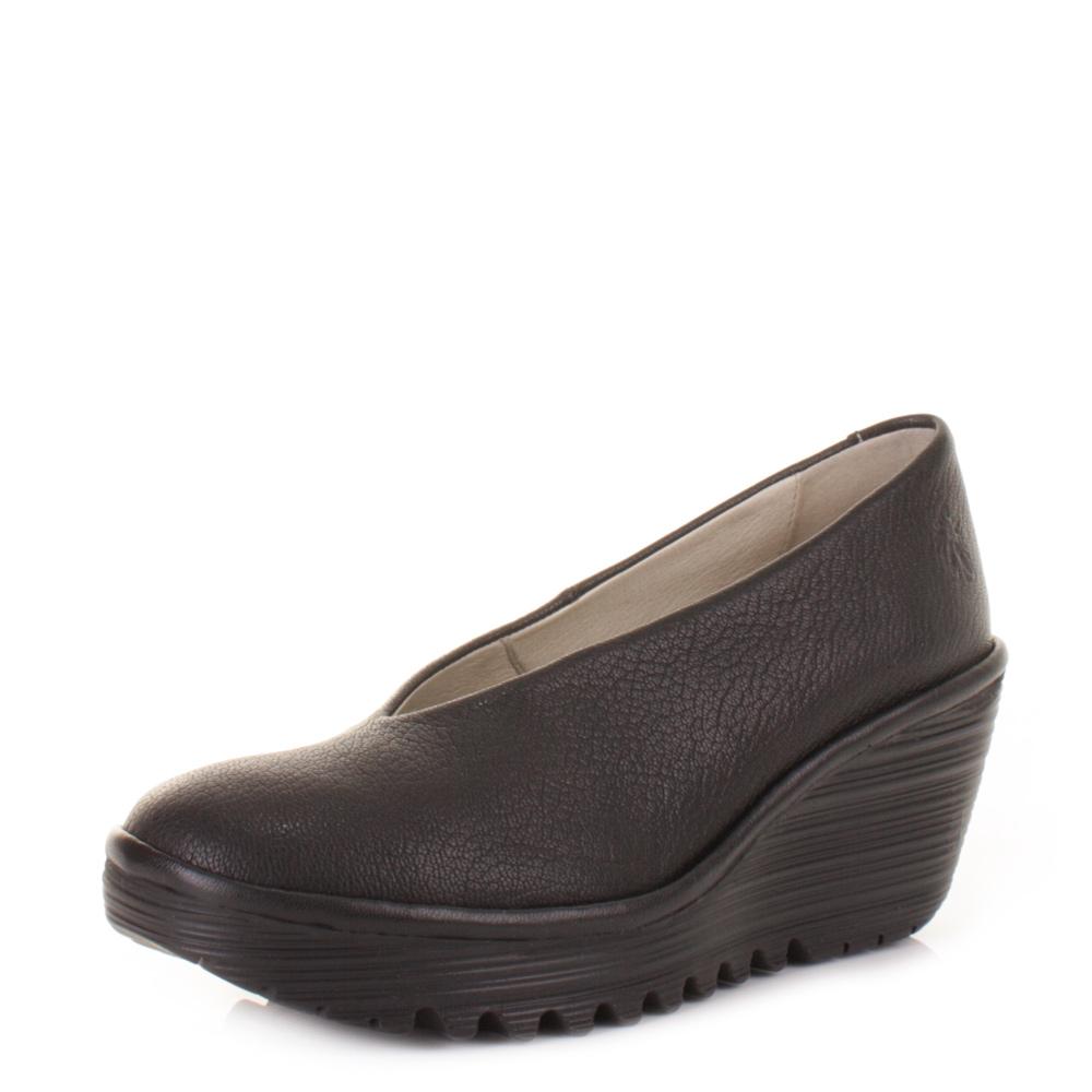 womens fly yaz black leather wedge heel work
